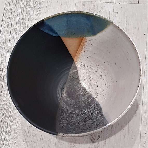 Hand thrown Stoneware Dip Dye Bowl, Glazed in black blue and white
