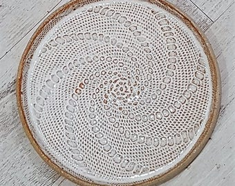 Handmade Ceramic Plate with lace inlay - white - melbourne made - rustic - boho gifts - gifts for her - gifts for sister - gifts for mum