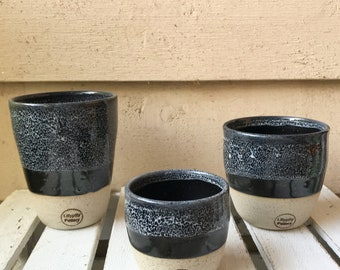 Handmade ceramic travel cup/tumbler black speckle - gifts for her - gifts for sister - gifts for mum - modern decor - latte cup - keep cup
