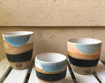 Handmade ceramic tumbler/Keep Cup in blue dip dye design - gifts for her - gifts for sister - gifts for him - latte cup - rustic cup