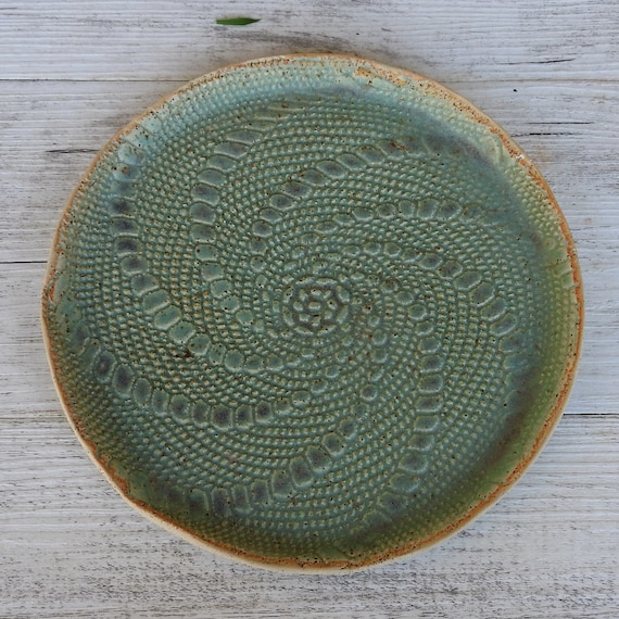 Handmade Ceramic Plate with lace inlay - green - melbourne made - rustic - boho gifts - gifts for her - gifts for sister - gifts for mum