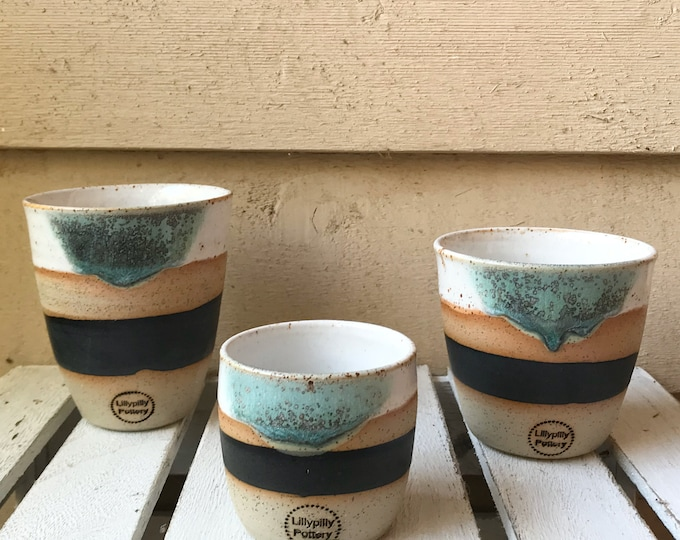 Handmade Ceramic Keep Cup/Tumbler - Dip Dye green design - made in melbourne - gifts for her - gifts for mum - modern decor - keep cup