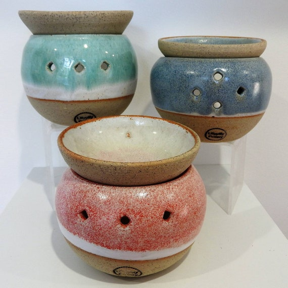 Handmade, hand thrown, Stoneware Oil Burner, pink blue or green.
