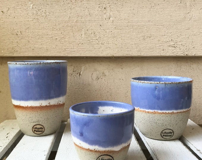 Handmade ceramic travel cup/tumbler purple and white gifts for her - gifts for sister - gifts for mum - modern decor - latte cup - keep cup
