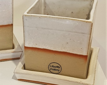 Handmade Ceramic Planter with Saucer - square - white - gifts for her - gifts for the home - garden gifts - indoor outdoor planter