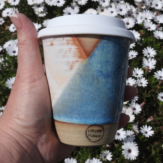 Handmade Ceramic Keep Cup/Tumbler - Geometrix - made in melbourne - gifts for her - gifts for mum - modern decor - keep cup