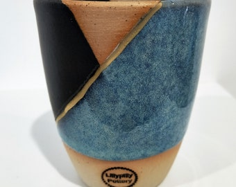 Handmade ceramic tumbler/Keep Cup blue & black with gold detail - gifts for her - gifts for sister - gifts for him - latte cup - rustic cup