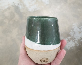Stemless Re-usable Wine Cup Candle - Green