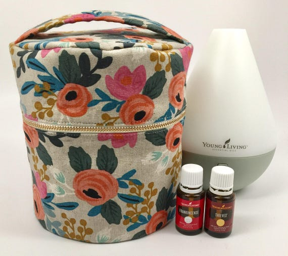 Essential Oil Diffuser Case Holds Young Living S Desert Mist Dewdrop Home Rainstone Diffusers Made Using Rifle Paper Co Fabric Natural