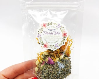 Dried floral mix, Wildflowers, Dried flowers, Lavender, Calendula, Rose Bud, Jasmine Bud. Flowers for your essential oil potions!