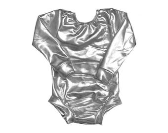 Silver Leotard (metallic leotard, baby leotard, toddler leotard, dance leotard, basic Leotard, silver bodysuit, gymnastics leotard)