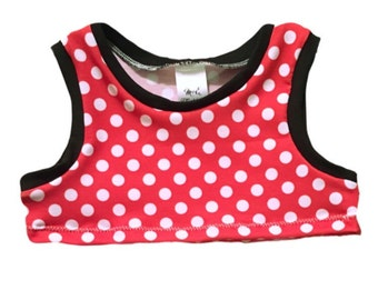 Minnie Mouse Tank/Crop Top/Raglan- Baby Toddler Child custom- Handmade to order
