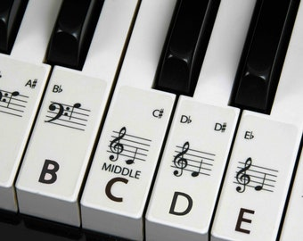 PIANO stickers Keyboard for ALL SIZE Pianos the best way to learn Piano Transparent