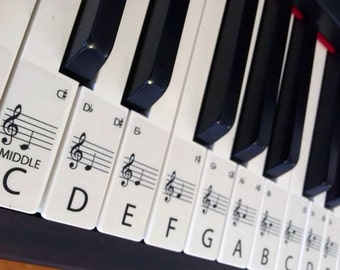PIANO stickers CLEAR Keyboard / Piano Stickers up to 88 Keys the best way to learn Piano Transparent