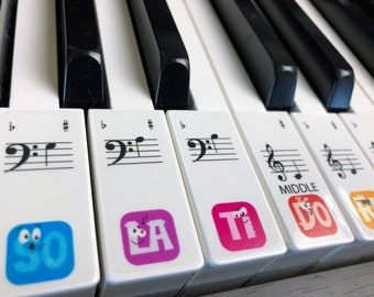 PIANO STICKERS, Learn, Transparent Children's Solfège Keyboard / Piano Stickers Set up to 88 KEYS the best way to learn Piano