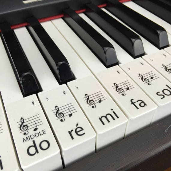 PIANO STICKERS, Learn, Transparent Solfège Keyboard / Piano Stickers Set up  to 88 KEYS the best way to learn Piano