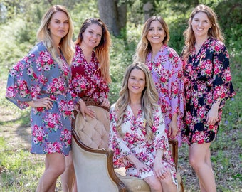 Bridesmaid Robes Floral Print Robes for Bridesmaids Floral Bridesmaid Robes Set of 5, 6, 7, 8 Many Colors You Choose Your Quantity