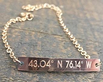 Personalized Bar Bracelet, Bridesmaid gift, Friendship Bracelet, Gold Bar Bracelet, Coordinates, Roman numerals bracelet, Custom bracelet