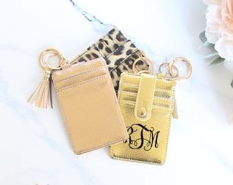 Keychain Wallet Card Holder Credit Card Wallet Boutique Key Chain with Tassel Key Fob Vegan Leather Keychain Keys Cards Holder Bangle Wallet
