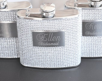 Bridesmaid Gift Personalized Bridesmaid Flask Custom Engraved Bling Flask Bachelorette Party Gifts Flask for Women Bridesmaid Gift Ideas