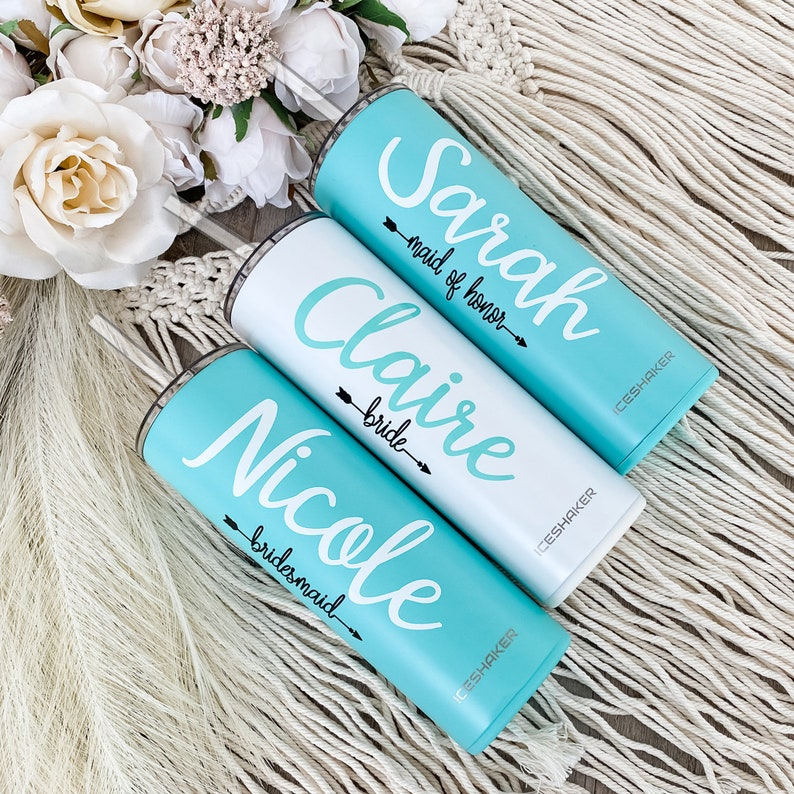 Personalized Tumbler with Straw Bridesmaid Tumbler image 0