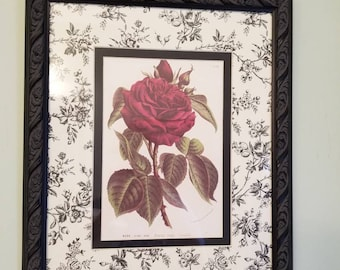 Black & White Toile Framed Signed Numbered Print Rose Francois Arago SHABBY CHIC French Cottage Home Decor