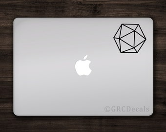 20 Sided Dice - Vinyl Decal Sticker Macbook Mac Apple Laptop Role Playing Dungeons and Dragons Board Game