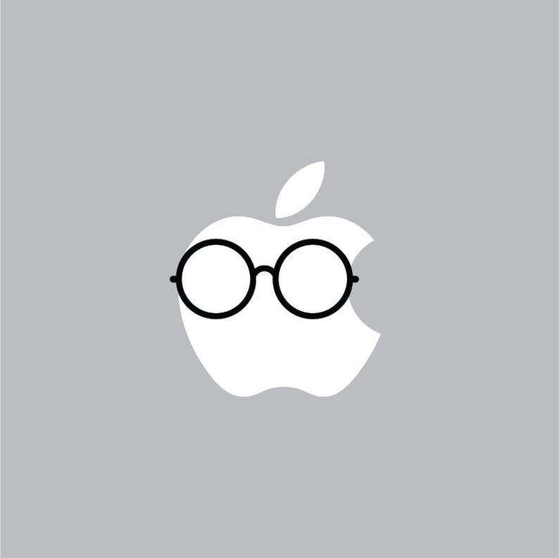 6e0d733c4a1 Round Glasses Mac Apple Logo Cover Laptop Vinyl Decal