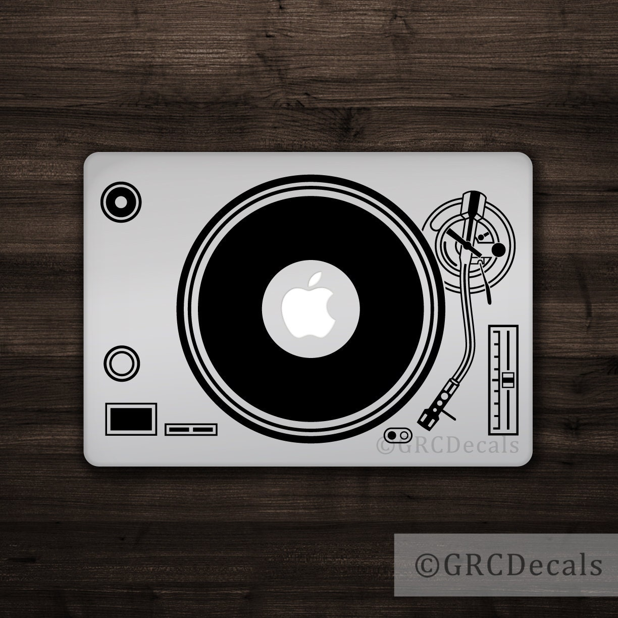 Dj turntable mac apple logo cover laptop vinyl decal sticker etsy