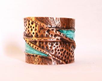Boho Chic Fold Formed Copper Cuff Bracelet, Hammered Copper Cuff Bracelet, Turquoise and Purple Patina Copper Cuff Bracelet