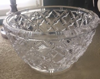 cb771e2fd730 Vintage Tiffany Bamboo Cross Work Pattern Crystal Bowl