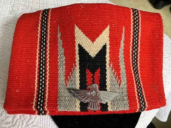 Vintage 1940'S New Mexican Red Chimayo Wool Woven