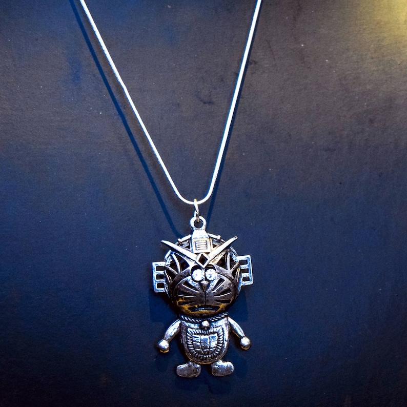 8631397bb7da6 Silver Robot Space Man Cat with Swarovski Crystal Eyes - Antique Silver  Samurai Pizza Cat Boho Cat Necklace- Long Robot necklace