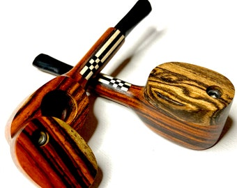 """4"""" Exotic Wood Pipe- Tribal- Swivel Lid- Mouthpiece- Handcrafted Polished Wood Pipe with Cap"""