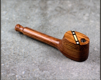 """Handcrafted 3.5"""" Wooden Pipe with inlayed Swivel cap"""
