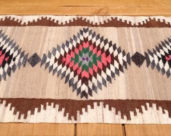 Hand Woven Wool Rug, Vintage Wool Textile Art, Native American Rug, South American Rug, Hand Made Wool Rug, Full Set of 2 for 550 Bucks