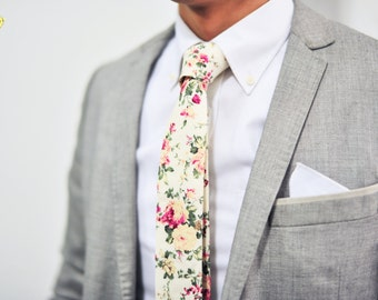 Cream White Floral Tie, Floral Tie, Ivory Floral Tie, Vintage Floral Tie, Vanilla Floral Tie, Wedding