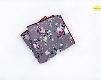 Silver Pink Floral Pocket Square, Silver Pink Floral Handkerchief, Pink Floral Pocket Square, Wedding Pocket Square, Vintage Pocket Square