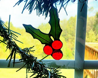 Holly Stained Glass Ornament - Christmas Ornament - Gift Tag - Tree Decor - Christmas Decor - Green and Red Stained Glass Holly
