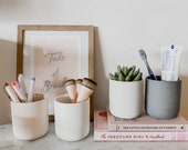 4-Piece Set Ceramic Pot for Succulent, Pencil Holder, Candle Container, Makeup Brushes and more