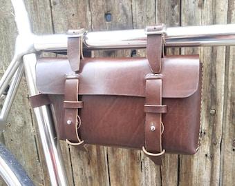 Leather Bicycle Bag - Leather Bag - Bike bag, Chocolate
