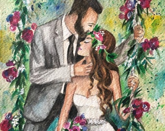 Custom Wedding Illustration, Bride Groom Portrait, Wedding Gift, Custom Wedding Custom illustration of 2 persons