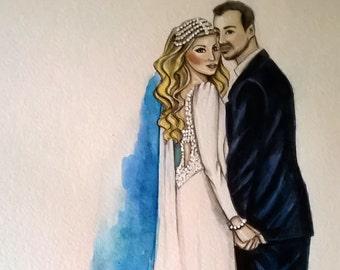 Custom Wedding Illustration.Wedding Gift, Save the Date Art, Custom Wedding Custom  illustration of 2 persons