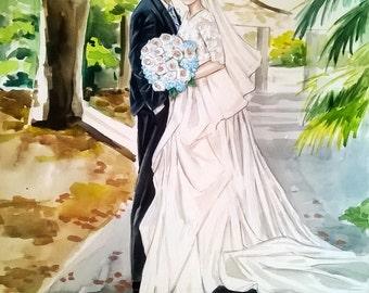 Custom Wedding Illustration , Bride Groom Portrait, Wedding Gift