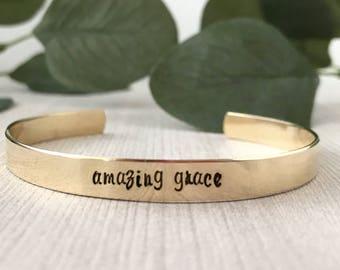 amazing grace   custom cuff bracelet   personalized cuff bracelet   hand stamped cuff