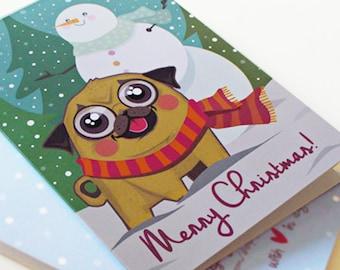 Pug Card, Pug Merry Christmas Card, Dog Winter Holiday Greeting Card, Funny Animal Illustration, Cute Sweet Gift, Christmas Snowflakes Card