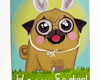 Pug Holiday Card, Pug Happy Easter Greeting Card, Handdrawn Funny Dog Art, Gift for Kids and Doglovers, Easter Eggs, Bunny Ears Illustration