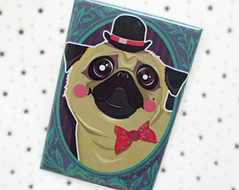 Pug Pin, Pug Magnet, Hipster Dog with Bowtie, Cute Pug Art, Dog