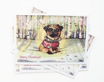 Pug Christmas Card, Sweet Pug Gift, Pug Art, Pug Illustration Print, Christmas Snowflakes Card, Birch Trees Forest Art, Dog Winter Note Card
