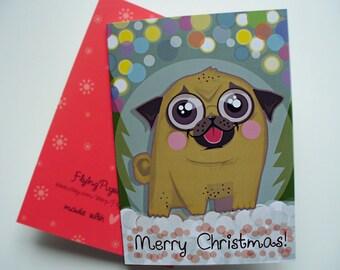 Pug Card, Pug Merry Christmas Card, Dog Winter Holiday Greeting Card, Funny Animal Illustration, Cute Sweet Gift, christmas tree lights card